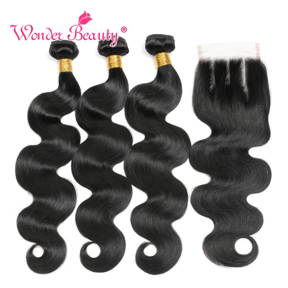 Peruvian Body Wave Hair Bundles With Closure Wonder Beauty Remy Human Hair Weave 3 Bundles With Middle/Free/Three Part Closure