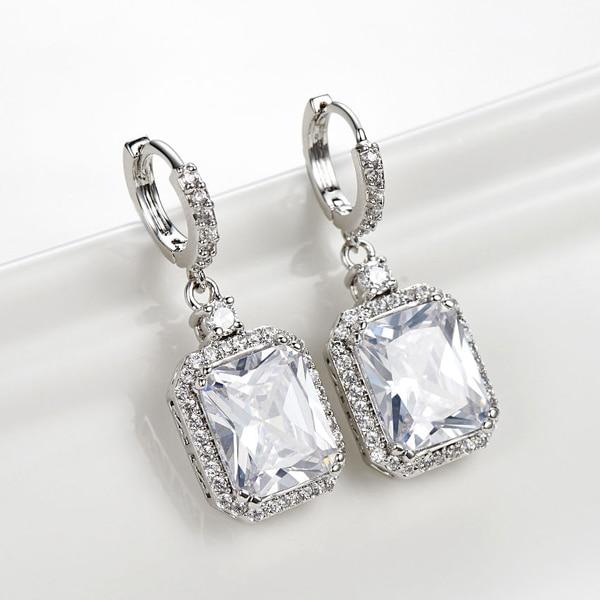 Woman Dangle Drop Earrings Silver Tone Clear Emerald Cut Cz Crystal Diamond Bridal Loop Earring Daily 2017 New Trendy Dae 0003 R In From