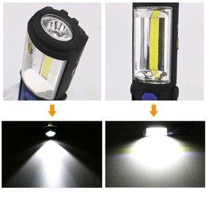 Image 5 - USB Rechargeable COB LED Flashlight COB light strip +1LED Torch Work Hand Lamp lantern Magnetic Waterproof Emergency LED Light