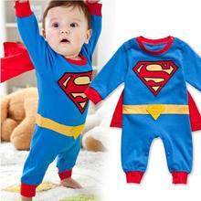 1 шт. супермен с длинным рукавом ползунки детское платье смок мальчика Rompers хеллоуин костюм бесплатная доставка