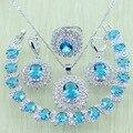 Reginababy Flor Céu Azul Branco criado Topázio Conjunto de Jóias de cor Prata Para Mulheres Pulseiras de Cristal/Colar/Brincos/anel
