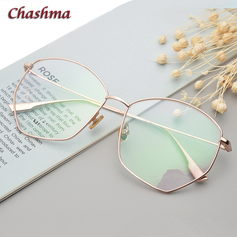 8 G Octagon Titanium Glasses Frame Women Gold Eyewear Big Circle Fashion Spectacles for Female Irregular