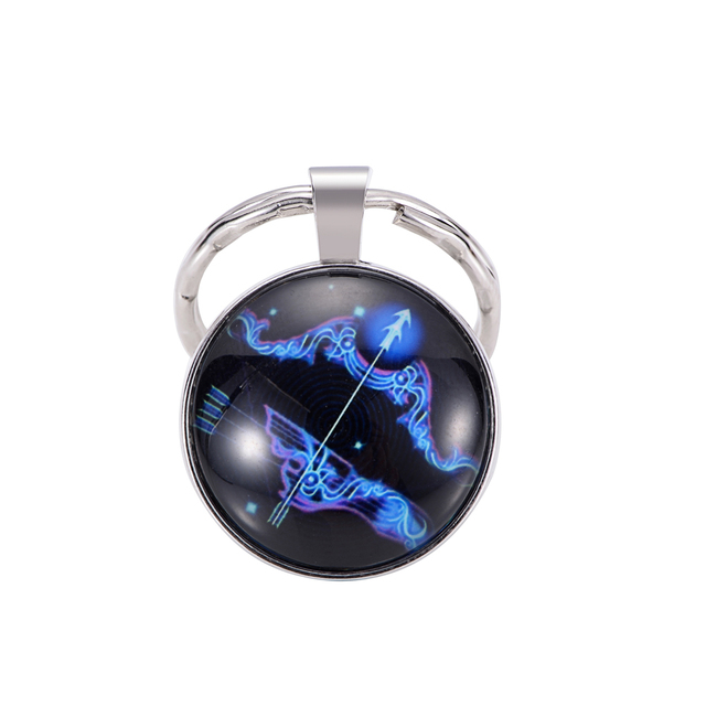 Luminous Zodiac Sign Keychain 12 Constellation Leo Libra Scorpio Sagittarius Pendant Double Face Keyring Key Holder Birthday 4