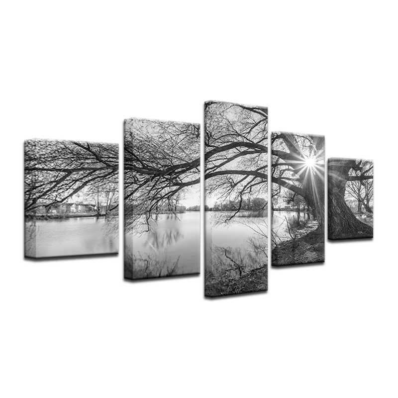 5 sztuk płótno Wall obrazy czarny & biały-Black & White krajobraz druk na płótnie Home Decor dla pokoju gościnnego drzewo dekoracyjne obraz drop shipping