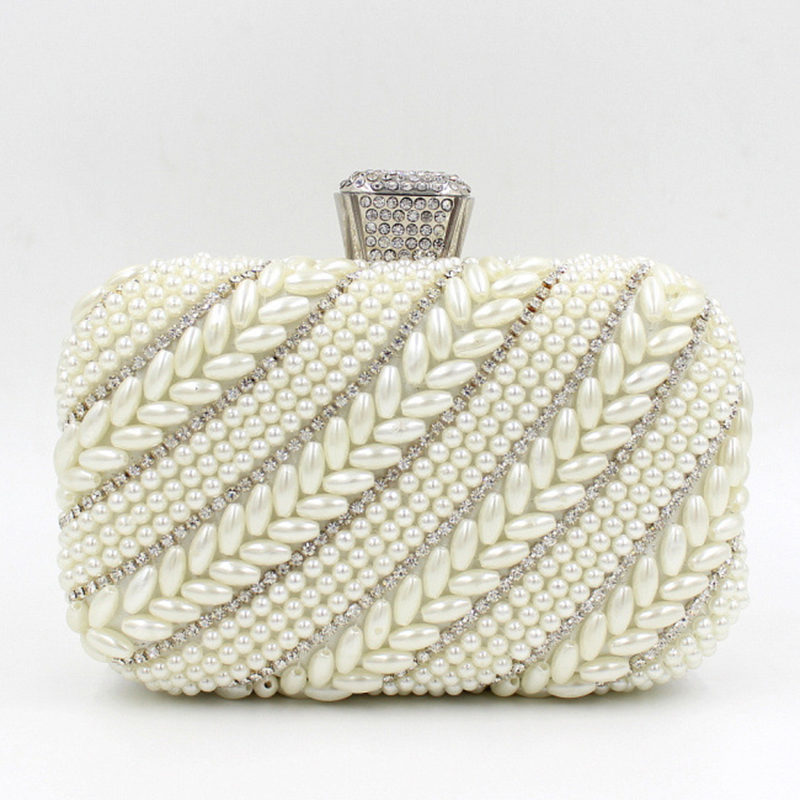 Women Party Handmade White Pearl Hard Case Beading Evening Shoulder Clutch  Bag Bridal Wedding Beaded Hand bags Metal Clutches ec38d243abf9