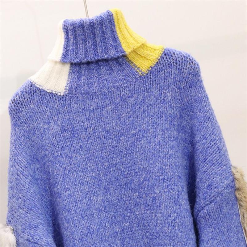 Bande Roulé Mode Pull Jumper Tops Épais Femmes Col Dames Harajuku À Blue D'hiver Dessinée Chandails Tricots Tricot Chaud 05BftrqxwB