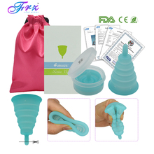 1pcs Folding Menstrual Cup 100% Medical Grade Silicone Feminine hygiene Reusable Lady Copa menstrual with box