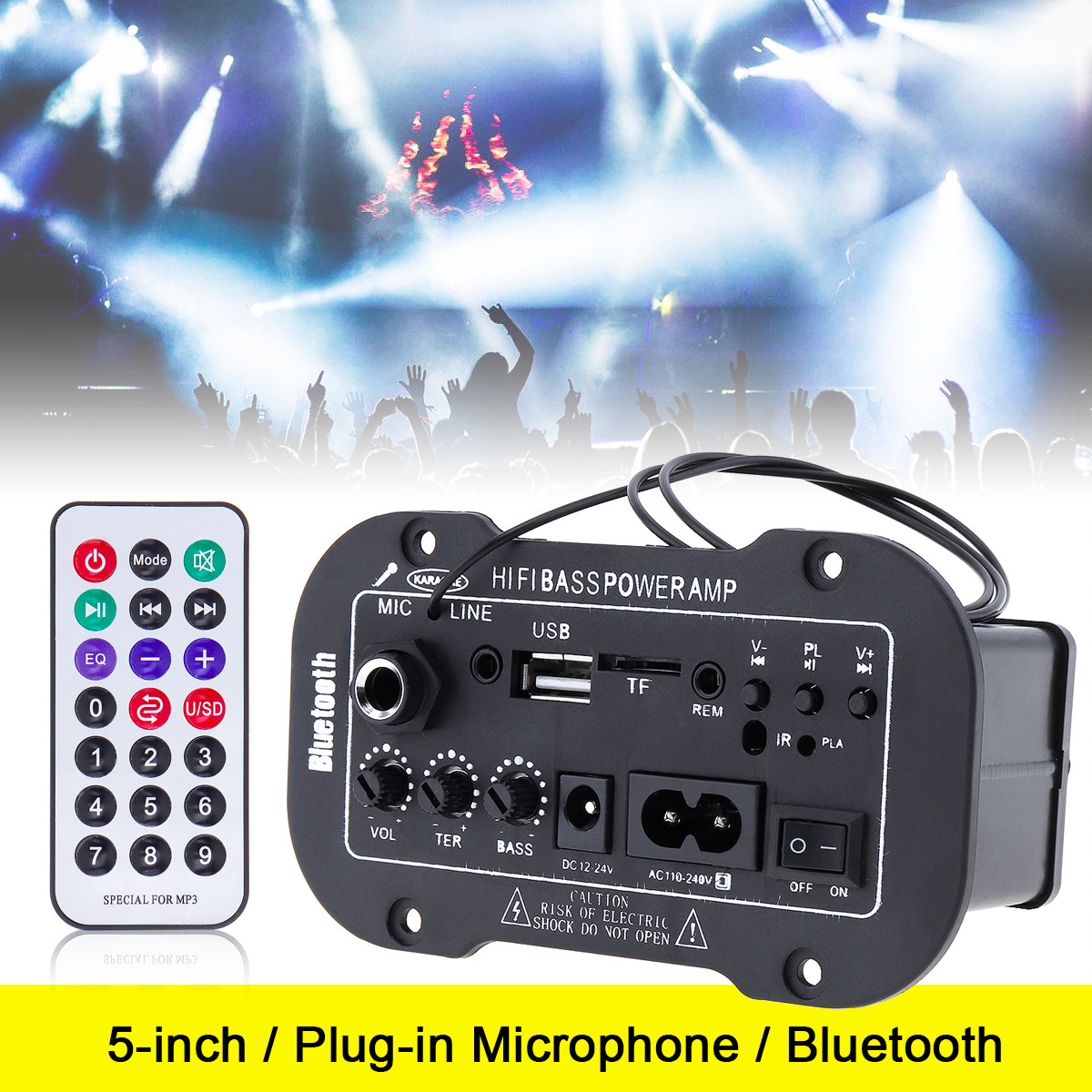5 Inch HIFI Bluetooth Car Audio Power Amplifier FM Stereo Radio Player Support MIC SD USB DVD MP3 Input for Auto Motorcycle Home new car bluetooth hifi bass power amp digital auto amplifier stereo usb tf radio audio mp3 music with remote 220v