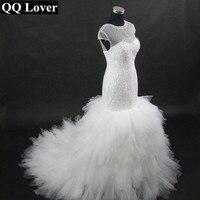 QQ Lover 2017 New African Styles Champagne Illusion Mermaid Wedding Dress Custom-made Plus Size Wedding Gowns Vestido De Noiva