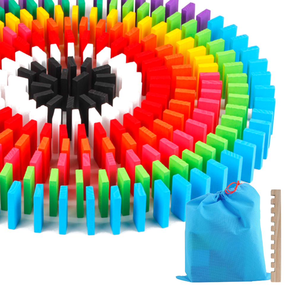 240 pçs/set Domino Brinquedos Infantis Brinquedos De Madeira Blocos de Dominó Colorido Kits Early Learning Dominó Jogos Educativos Brinquedos Para Crianças