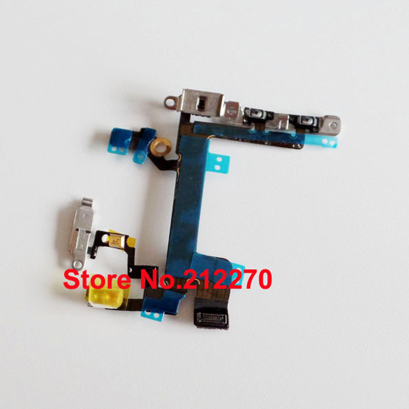 YUYOND 50pcs lot Power Mute Volume Button Switch Connector Flex Cable Ribbon With Metal Bracket For