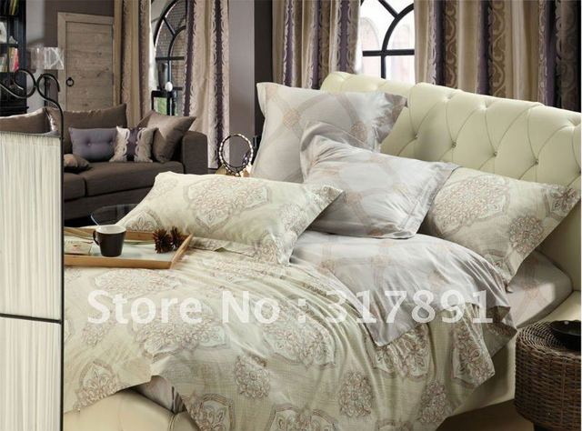 2012 Fashion Satin fabric BEDDING SETS with bed sheet light brown flower pattern Reactive printed bed linen duvet cover sets