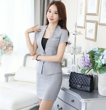 Novelty Grey Summer Short Sleeve Professional Business Women Work Suits With Jackets And Skirt OL Styles Beauty Salon Outfits