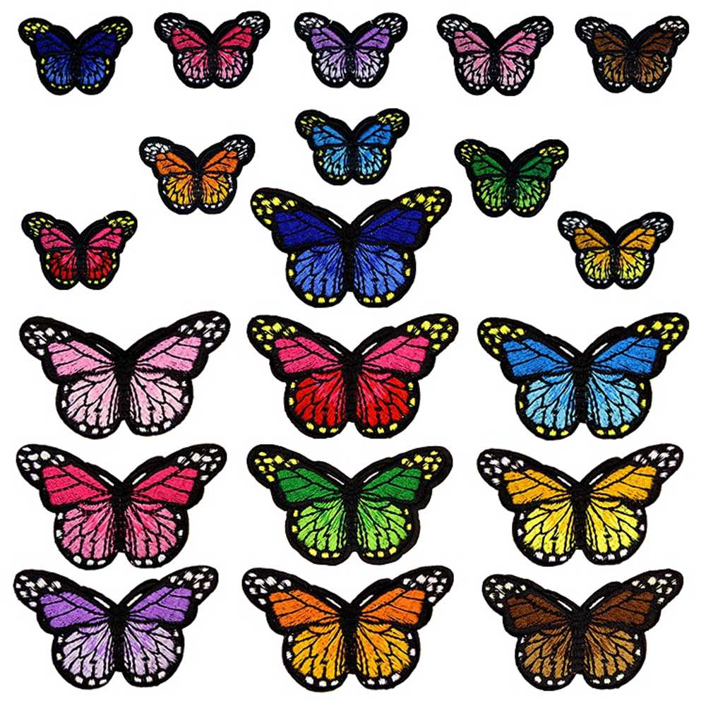 Butterfly Patches for Clothing Big and Small Embroidery Iron On Patches Sets Badge Clothes T-shirt Diy Decoration Patch Sticker