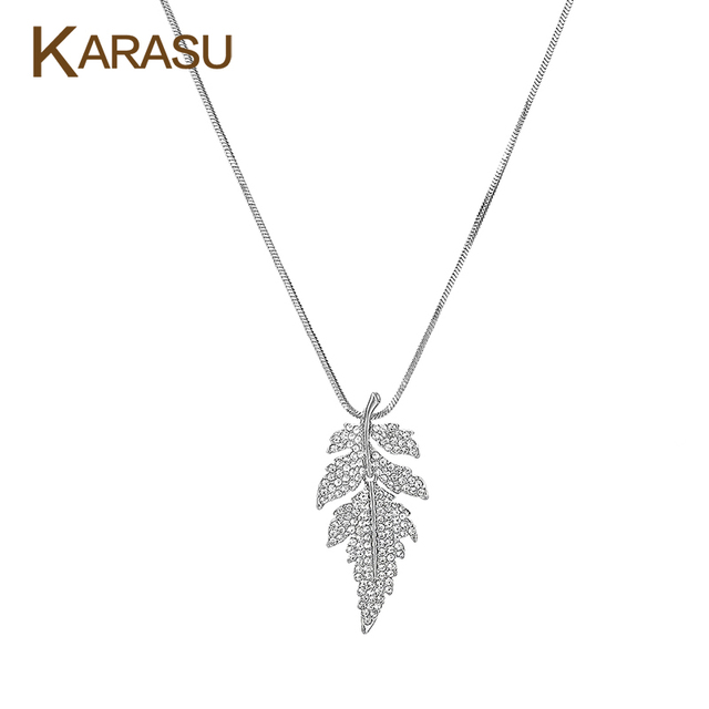 New Arrival Leaf Shape Pendant Tiny Austrian Crystal Gold Plated Long Statement Snake Chain Sweater Necklace for Women Jewelry