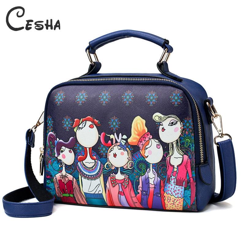 Luxury Fashion Cartoon Printing Women s Handbag High Quality PU Leather Shoulder Bag Ladies Lovely Leisure