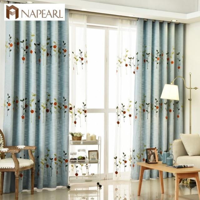 Elegant NAPEARL Embroidered Curtains Kid Room Girl Bedroom Blue Beige Curtains  Drape Floral Design Short Window For Bedroom Kid Curtain