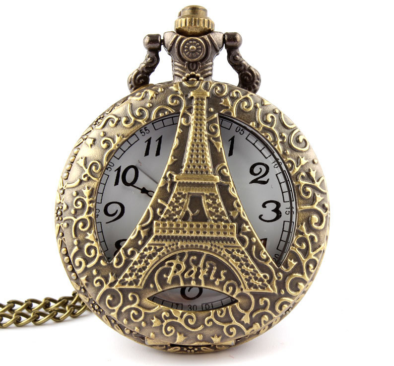 Dropshipping Antique Bronze Hollow Eiffel Tower In Paris Pocket Watch Pendant Necklace Men And Women Watch Gift P123