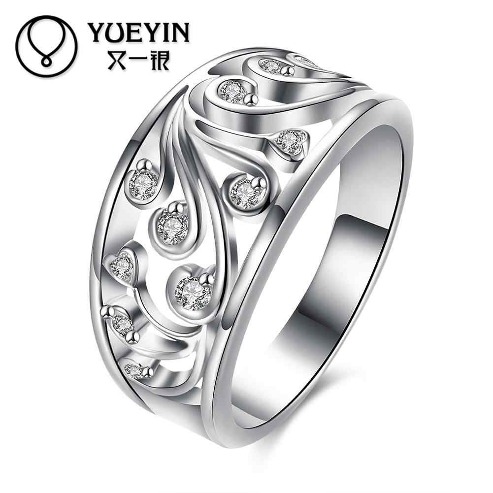 Silver plated wedding rings for bridal fashion jewelry bague argent Romantic High Quality Free Shipping Female rings