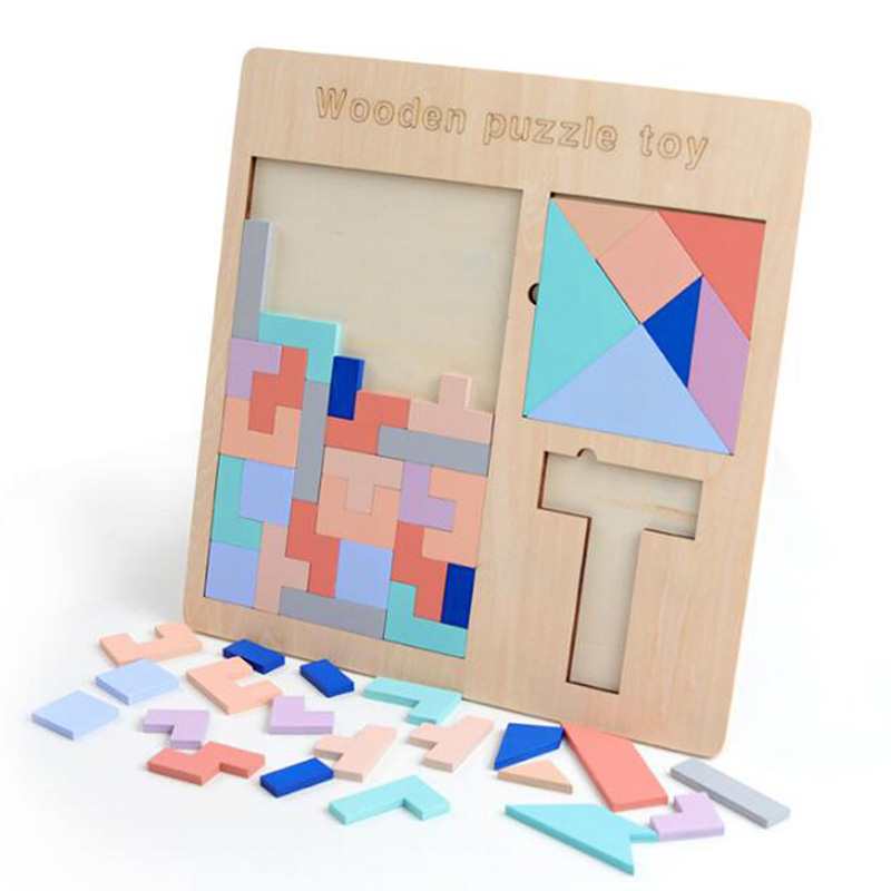 Colorful Wooden Puzzle Games Toys For Children Brain Development Tangram Jigsaw Puzzle Woooden Learning Education Popular Toy