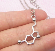 1pc Minimalist Silver Serotonin Necklace Molecule Chemistry Graduation Necklace Charm Anniversary Bridesmaid pendants women