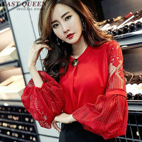 Lantern sleeve blouse with lace womens long sleeve tops korean fashion clothing white color chiffon blouse AA2296 YQ