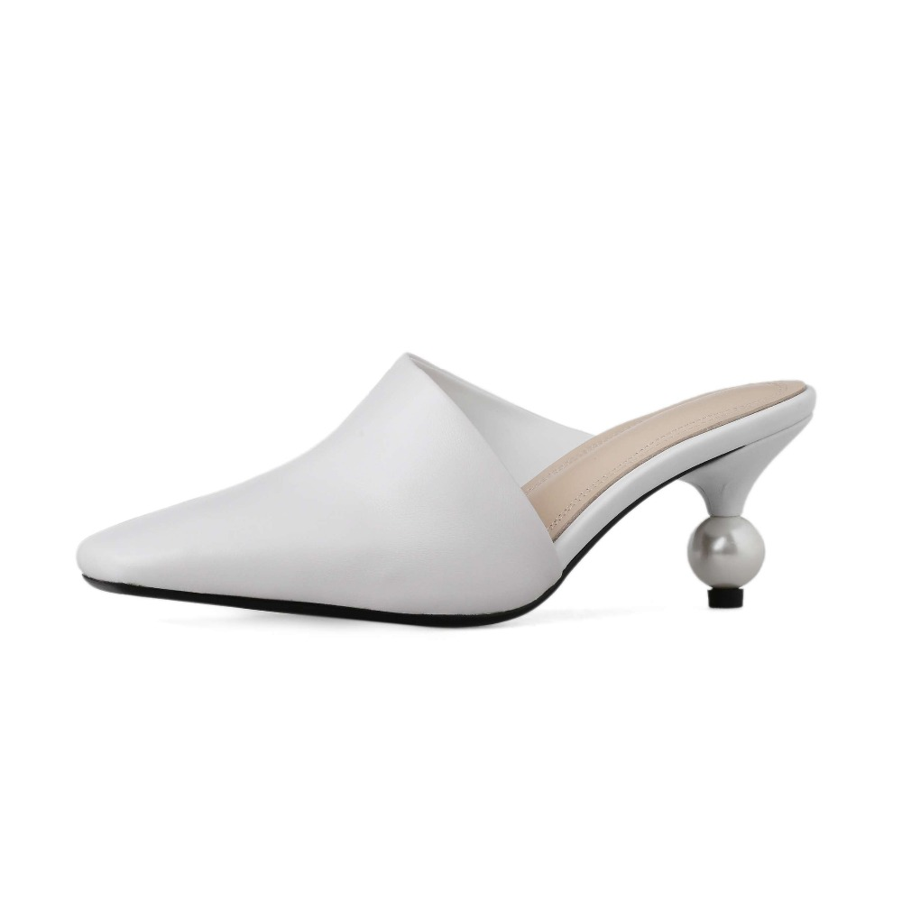 British style luxury art design pearl med heels classic square toe slip on mules cuts on sheep leather comfortable pumps L59-in Women's Pumps from Shoes    2