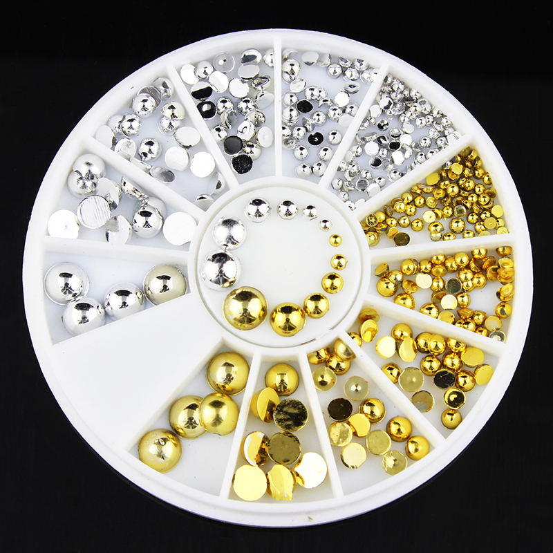 6 Sizes Gold Silver Round Nail Art Stickers Tips Glitter Fashion Nail Tools DIY Decoration Stamping ZP056