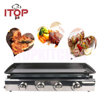 ITOP Fast Heating Plancha Gas BBQ Grill Outdoor Party Tools Griddle 84*34cm Large Non stick Cooking Area