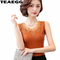 TEAEGG Slim Summer Tops Women Camisole Femme Sexy Top Tank Lace Tops Woman Plus Size Womens Tops and Blouses T shirt AL1093
