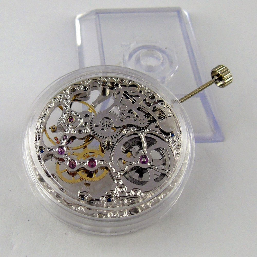 17 Jewels silver Asian Full Skeleton fit men s watch 6497 Hand Winding movement