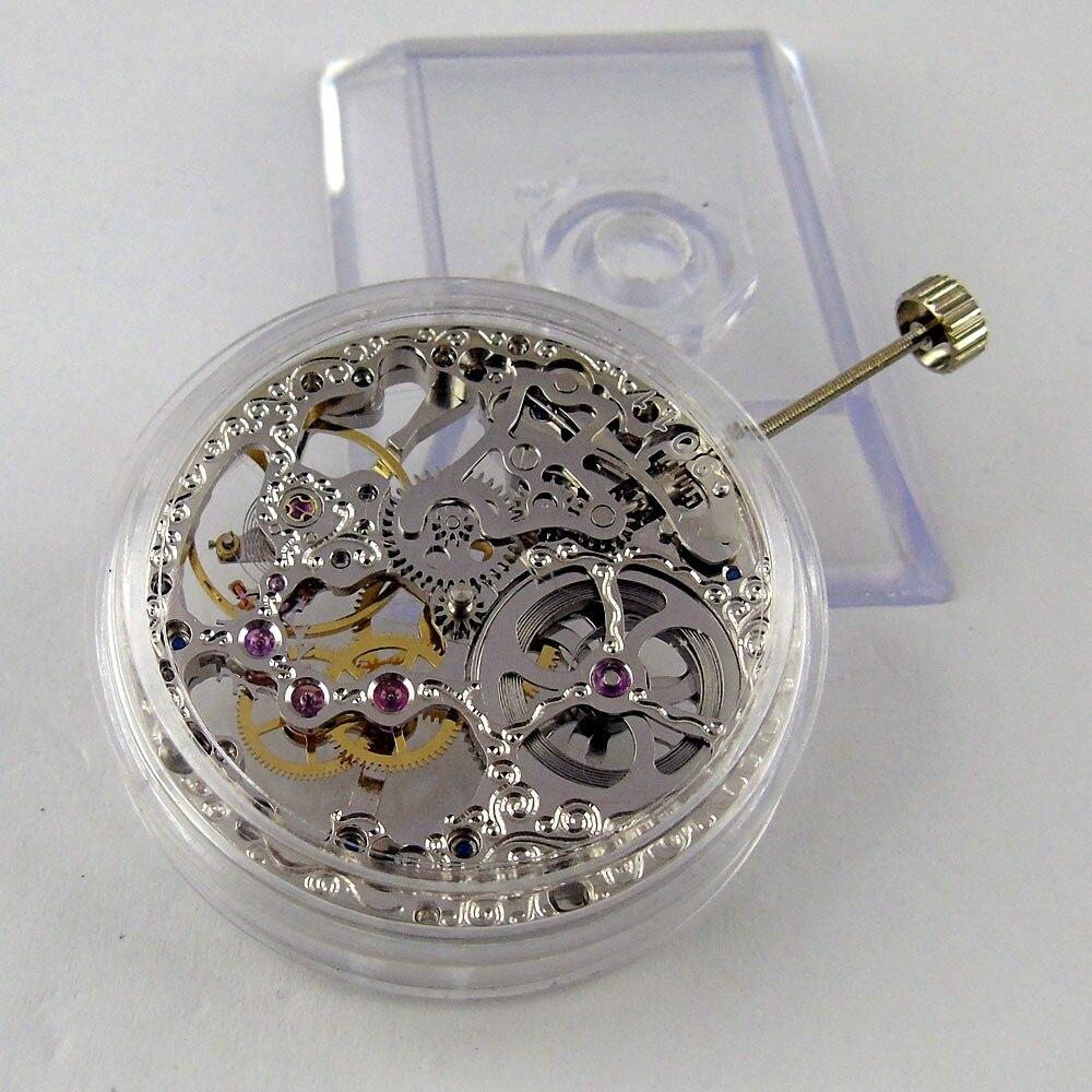17 Juwelen zilveren Aziatische Volledige Skeleton fit mannen horloge 6497 Hand Kronkelende beweging-in Reparatiemiddel & Kits van Horloges op  Groep 1