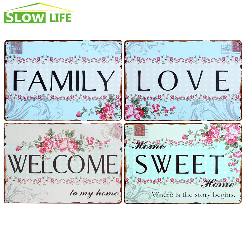 Welcome Sweet Love Family Metal Tin Sign Vintage Home