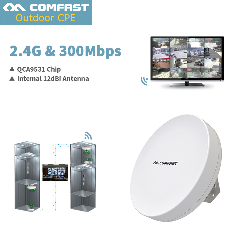 1-3km Wireless AP Wireless bridge Long Range CPE 2.4G WIFI Signal Booster Amplifier 12dbi Antenna Outdoor wifi repeater Cover comfast 300mbps wireless outdoor cpe atheros ar9531 chipset wi fi access point wifi repeater signal amplifier network bridge