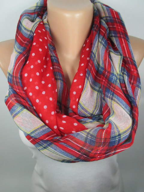 polka dots red scarf plaid scarf infinity scarf women fashion accessories christmas gift ideas for her