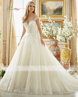 New Romantic V Neck Appliques A Line Wedding Dresses 2017 Sexy Beading Vestidos De Noiva Vintage