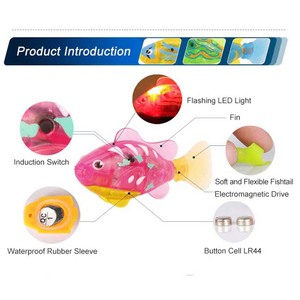Flash Swimming Electronic Fish Pet Bath Toys Battery Powered Swim Robotic for Children Kids Bathtub Fishing Tank Decoration Gift