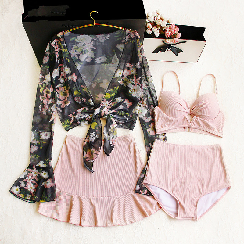 2019 Summer Ladies Beach Print Bikini Set Printing Sunscreen Long-sleeved Blouse Pink Hot Spring Bathing Suit Slim Swimsuit Four
