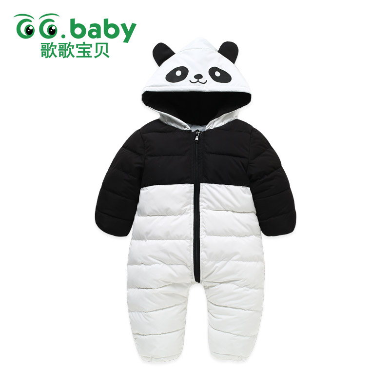 New Winter Newborn Panda Down Cotton Rompers Snow Outwear Baby Body Boys Romper Overalls Clothes Costumes Girl Jumpsuit Clothing unisex baby rompers cotton cartoon boys girls roupa infantil winter clothing newborn baby rompers overalls body for clothes