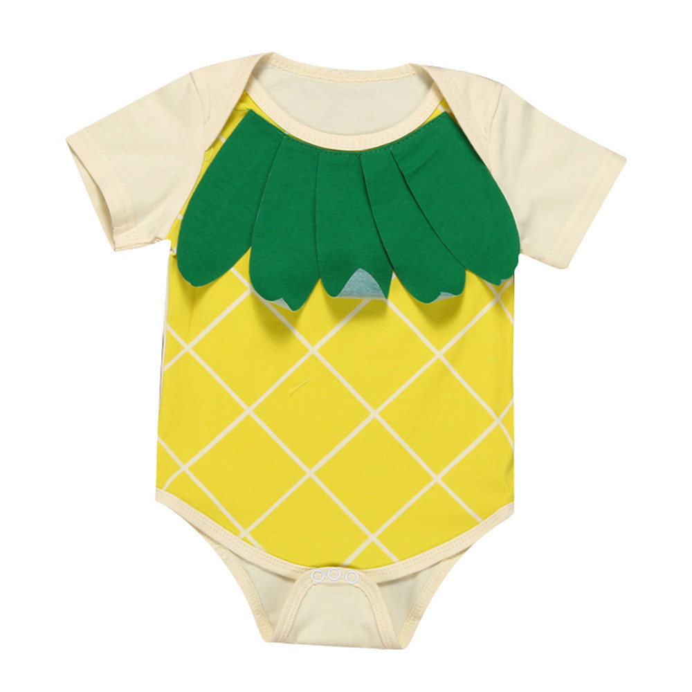 2018 baby new years bodysuit clothes Newborn Baby Boy Girl Pineapple suit Short Sleeve onesie baby Outfits Clothes