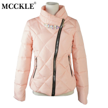 MCCKLE 2017 Winter Women Jacket Coat Warm Wear Thin Cotton Padded Crystal Outerwear Parka Ladies Slim Casual Tops Wadded Jacket