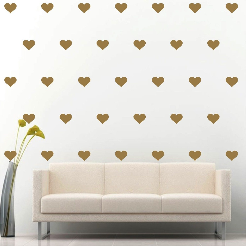 180 ks / sada LittleGold Heart wall samolepka Wall Decal Removable Art Home dekorace Wall Decal Heart Nástěnná malba pro děti S-2