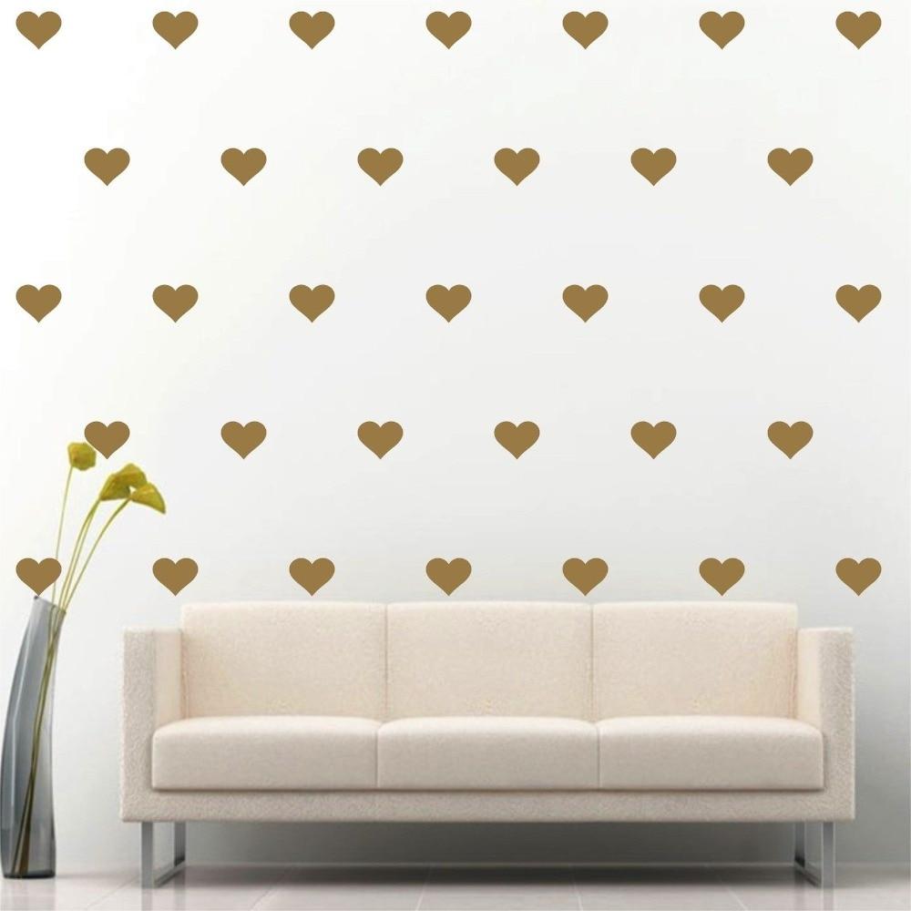 Baratos 180 unids/set LittleGold Corazón Etiqueta de la pared ...