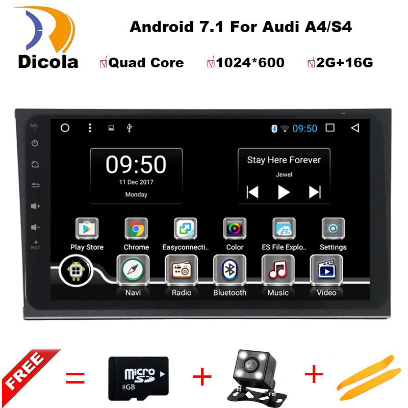 HD 1024*600 8 inch Quad Core Android 7.1 Aluminum alloy panel car dvd gps player For Audi A4 S4 RS4 8E 8F B9 B7 Radio GPS navi