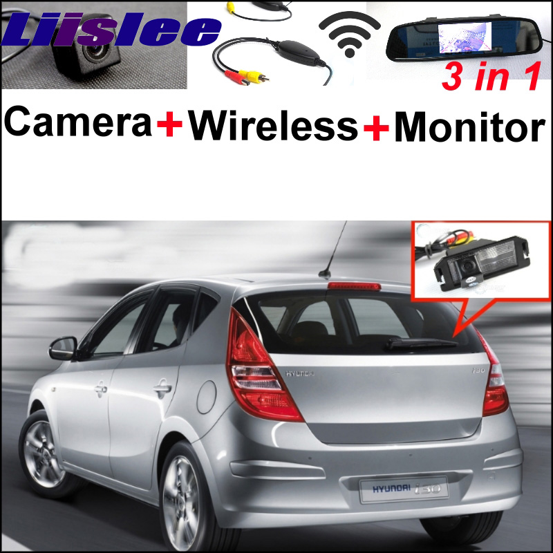 3 in1 Special Rear View Camera + Wireless Receiver + Mirror Monitor Parking System For Hyundai i30 Elantra Touring GT 2007~2012 3in1 diy for hyundai elantra gt wireless wifi bluetooth backup rear view reverse rearview parking camera camara