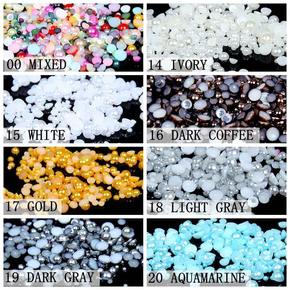 1000/500pcs 2-5mm Mixed Sizes Dark Gray Color Resin Half Round Pearl Beads Non Hotfix For Nails Art Backpack DIY Decoration