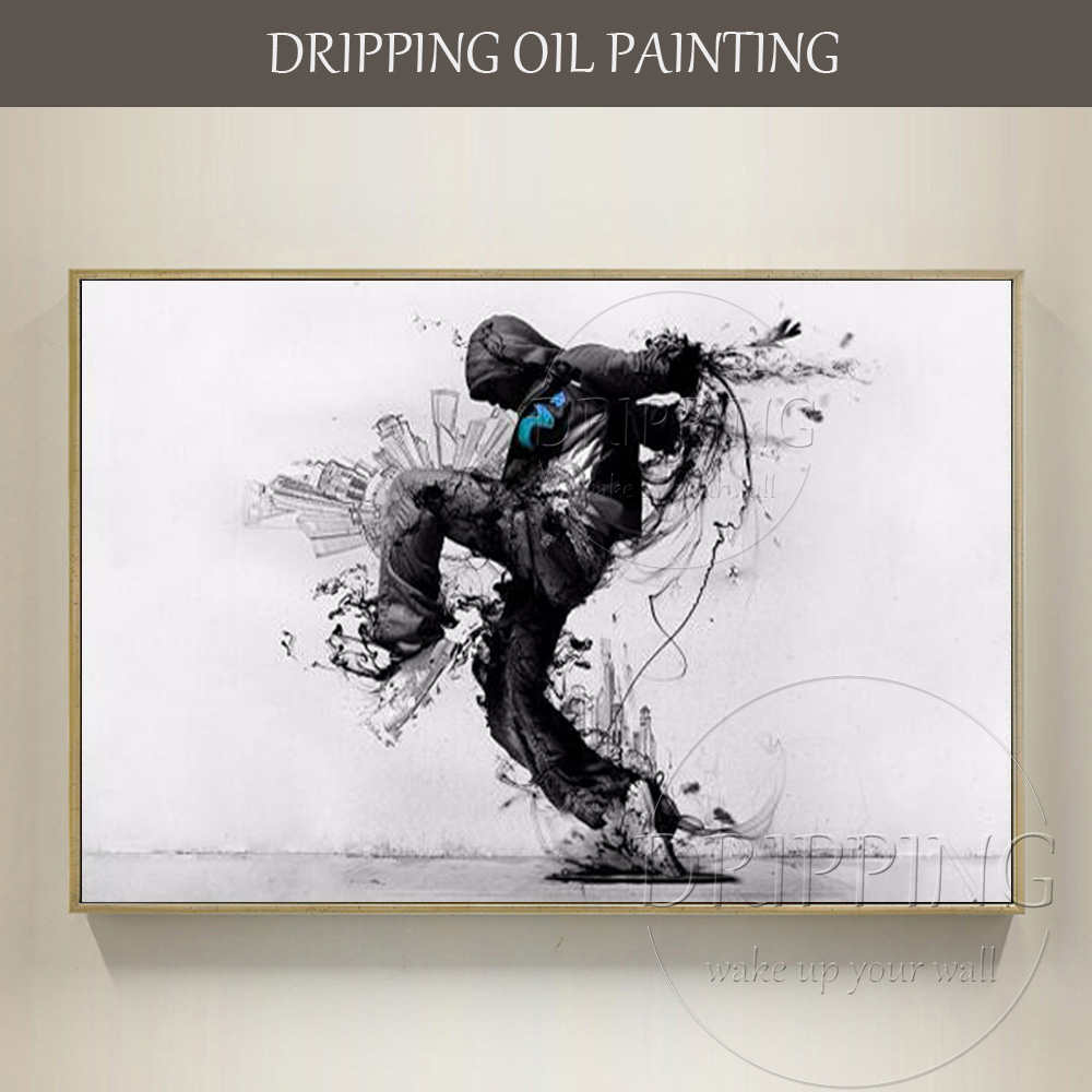 New Style Artist Hand-painted Street Art Oil Painting Black and White Art Painting Man Playing Dance in Street Oil PaintingNew Style Artist Hand-painted Street Art Oil Painting Black and White Art Painting Man Playing Dance in Street Oil Painting