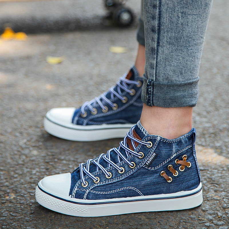 New High Top Demin <font><b>Jeans</b></font> Canvas Shoes for Man Casual Shoes Breathable Lace-up Flat Mens Trainers Espadrilles Men Sneakers