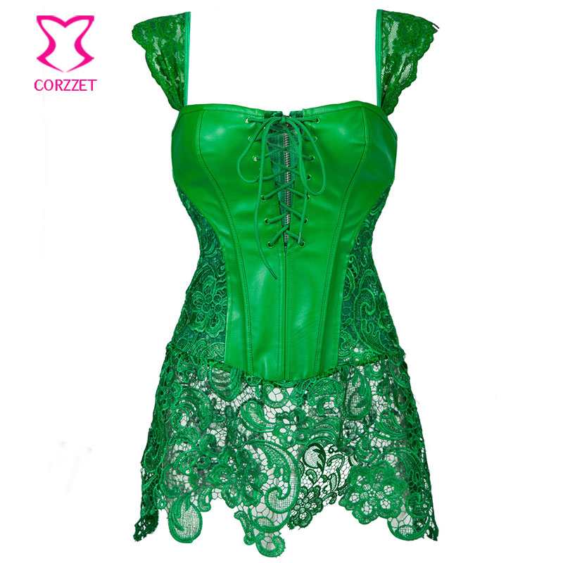 2016 Green Floral Lace&Leather Plus Size Waist Trainer Corset Dress Steampunk Sexy Lingerie Korsett For Women Gothic Clothing
