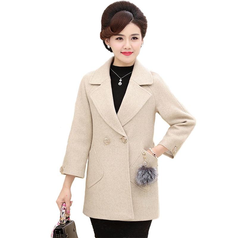 baa871f8a50c3 Woolen coat women 2018 Autumn Winter Plus size Wool jackets high quality  middle aged female ...